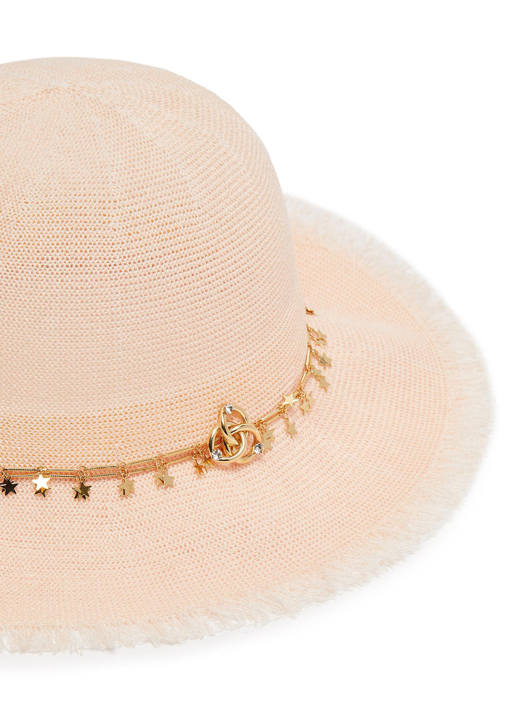 Star chain linen straw hat