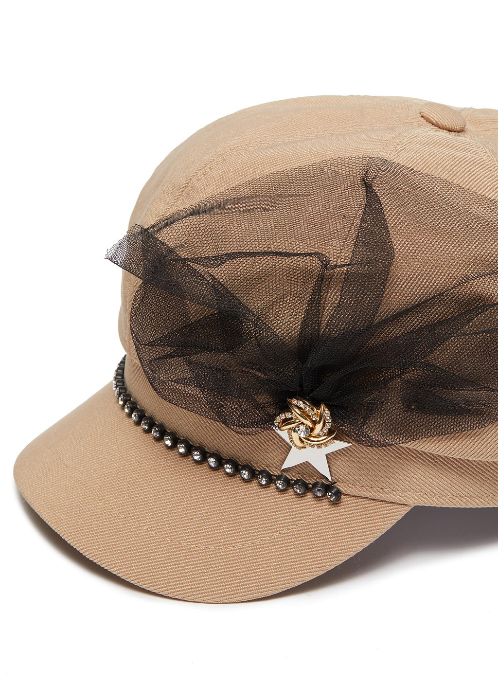 MESH EMBELLISHED PIN TWILL NEWSBOY CAP