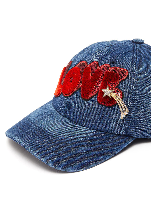 ''LOVE'' patch shooting star pin denim baseball cap