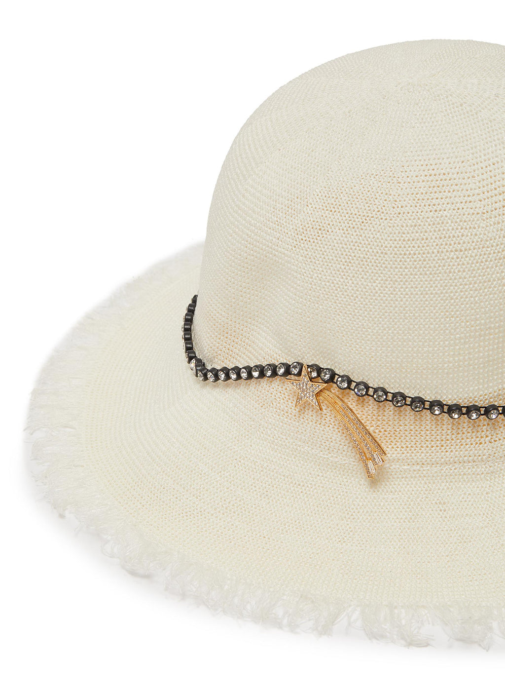 Shooting star pin glass crystal linen hat