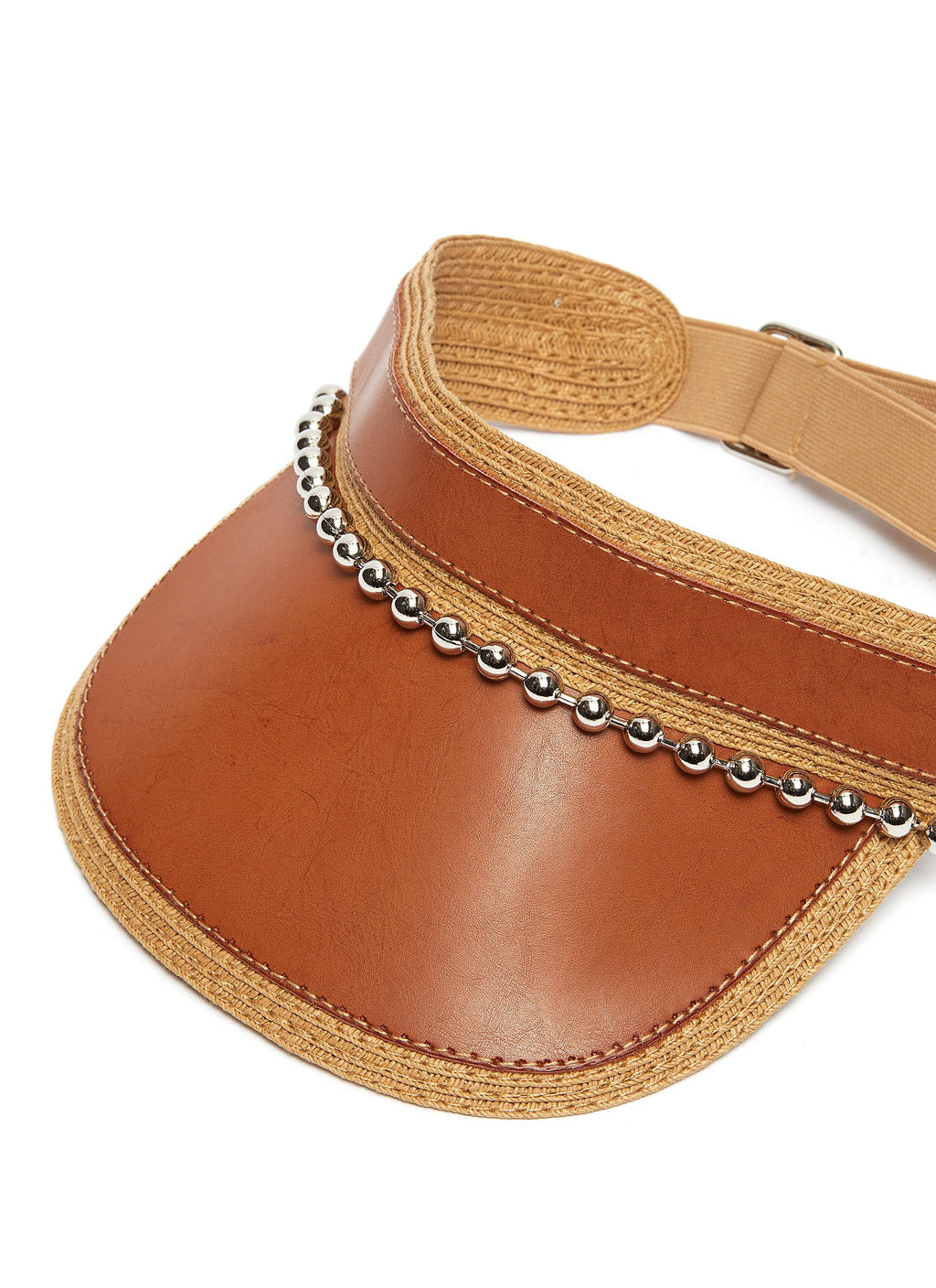 Ball chain leather and straw visor