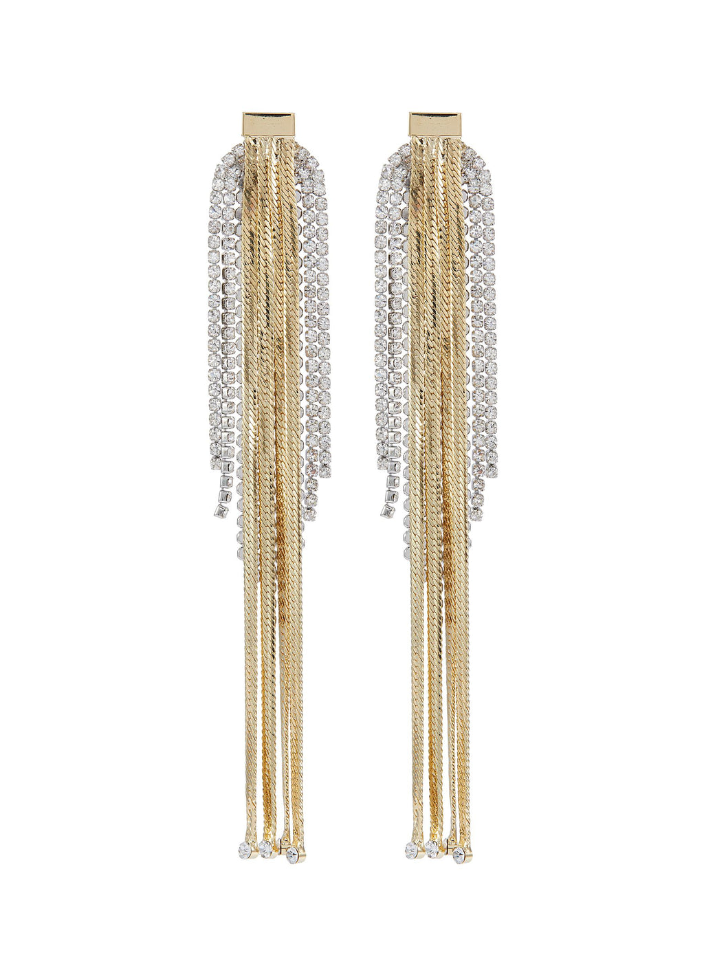 GLASS CRYSTAL CHAIN FRINGE DROP EARRINGS