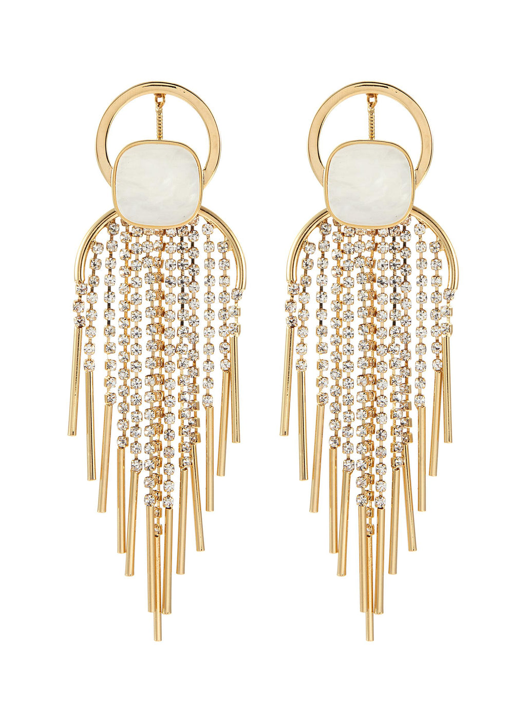 STONE GLASS CRYSTAL FRINGE CHANDELIER DROP EARRINGS