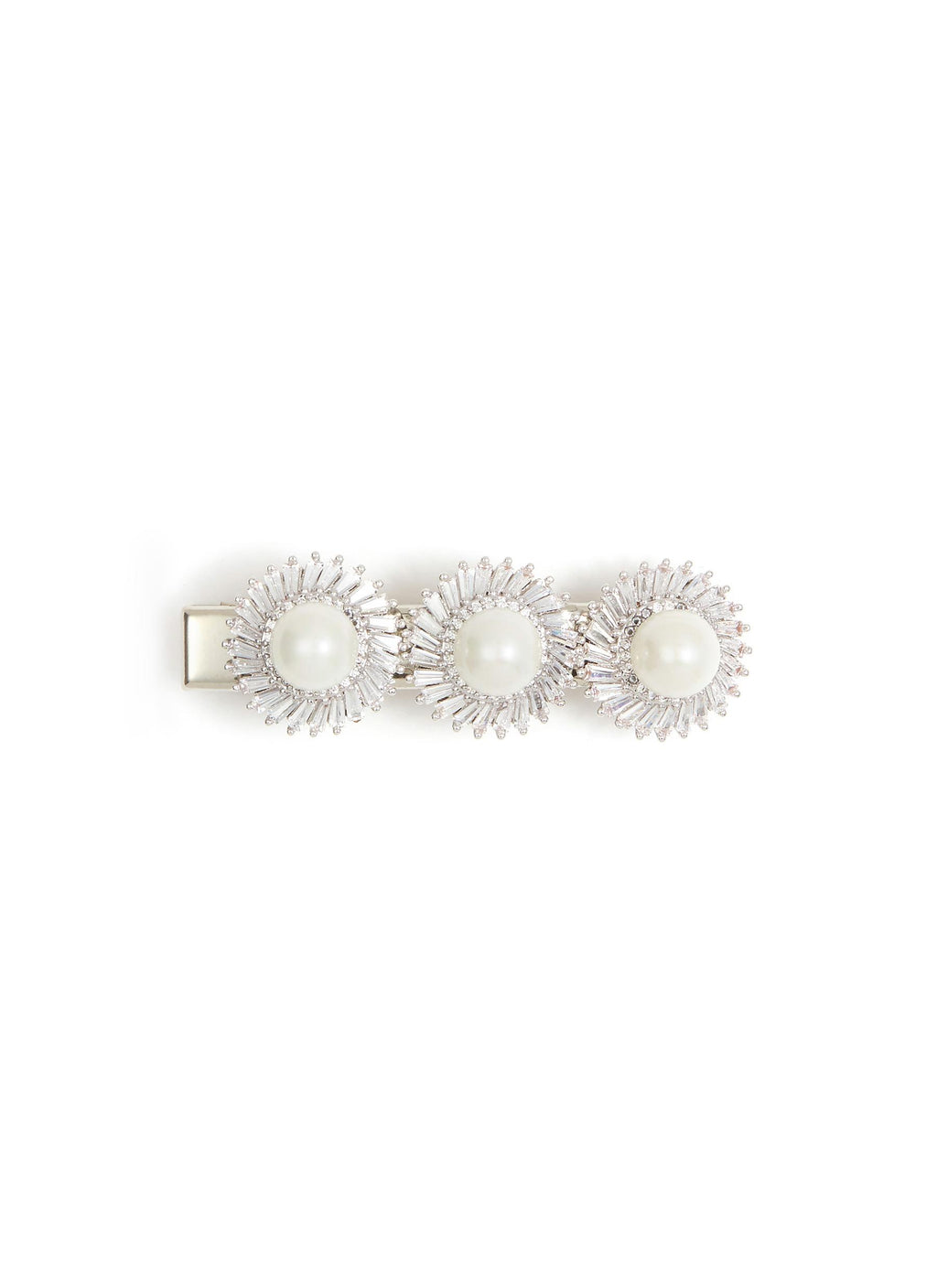 GLASS CRYSTAL FAUX PEARL FLORAL HAIR CLIP