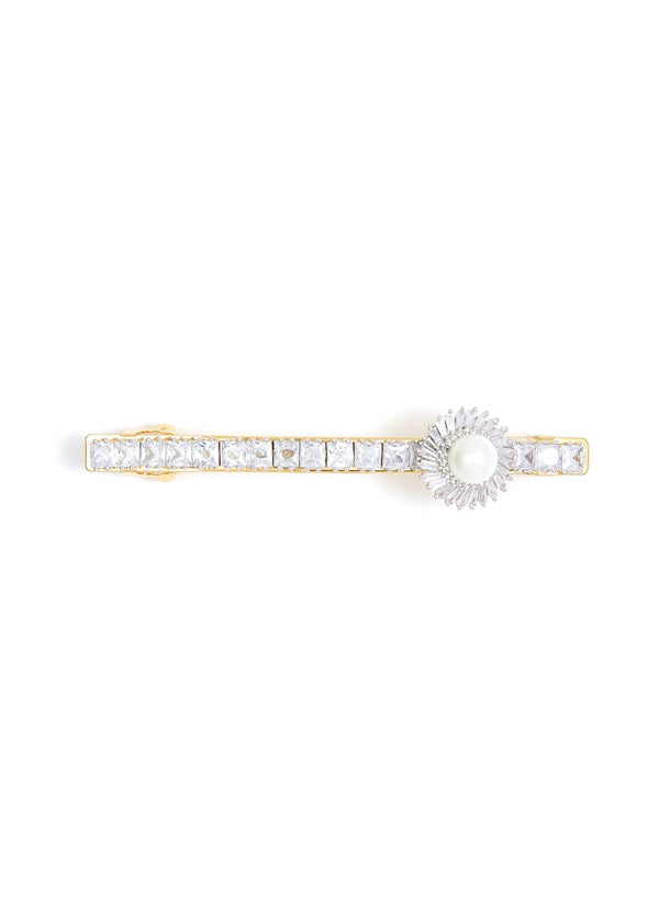 FAUX PEARL GLASS CRYSTAL LINEAR FLORAL HAIR CLIP