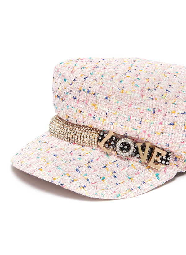 'LOVE' SLOGAN EMBELLISHED TWEED NEWSBOY CAP