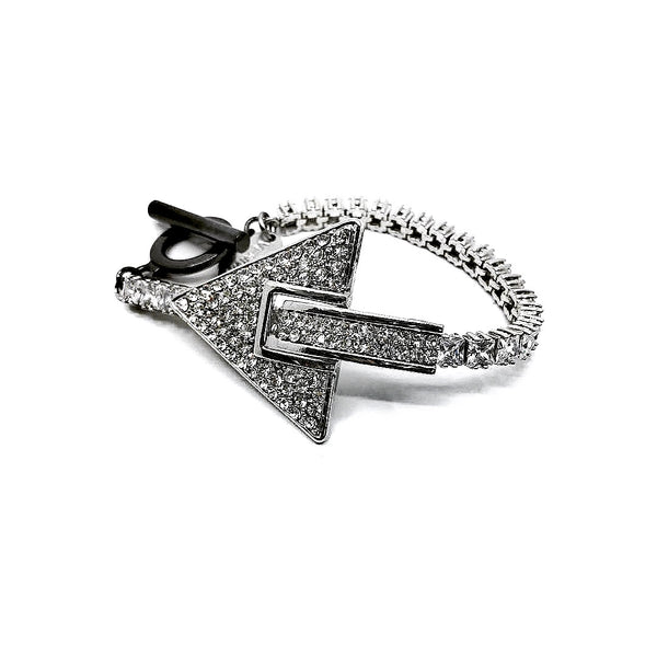 TRIANGLE CRYSTAL EMBELLISHED ZIRCON CHAIN BRACELET