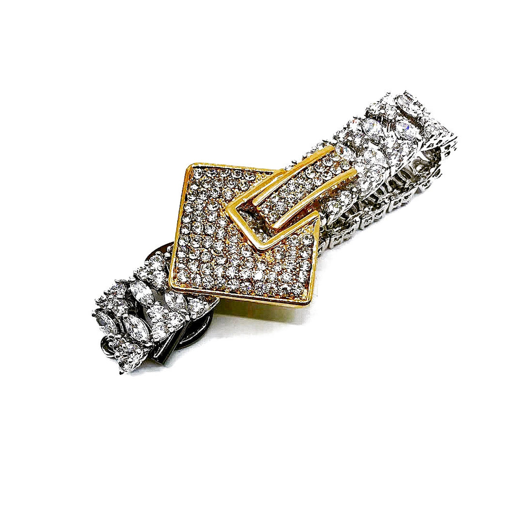 SQUARE CRYSTAL EMBELLISHED ZIRCON CHAIN BRACELET