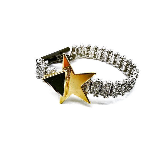 TRIANGLE STAR EMBELLISHED ZIRCON CHAIN BRACELET