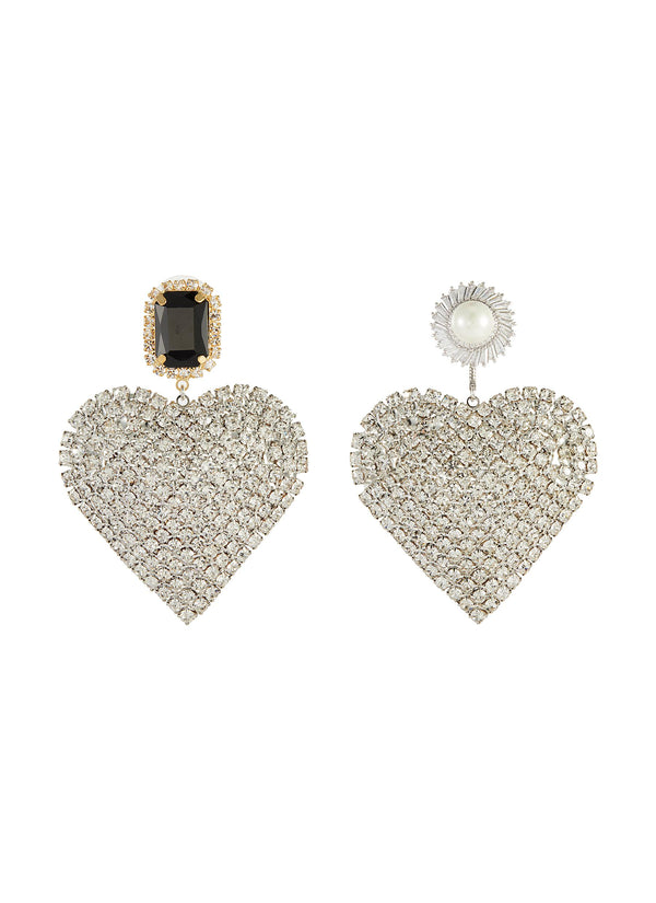 MISMATCH STUD HEART DROP EARRINGS