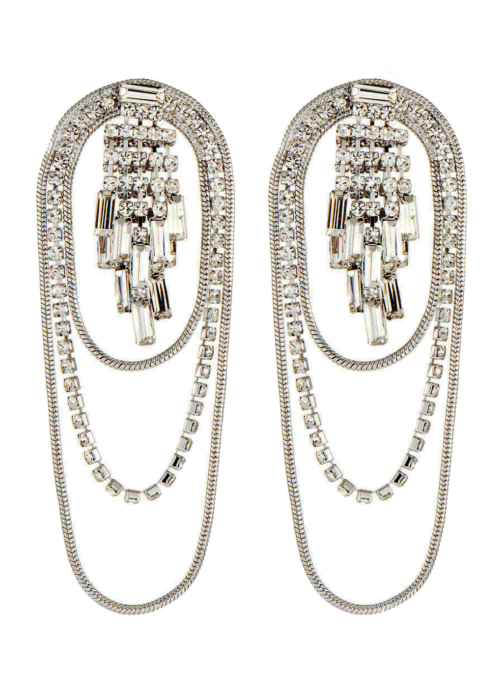 CRYSTAL FRINGE LAYERED DROP EARRINGS