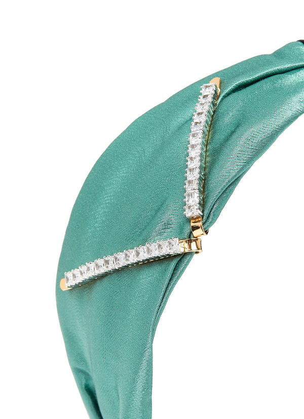 DOUBLE ZIRCON CLIP EMBELLISHMENT BI-COLOUR HEADBAND