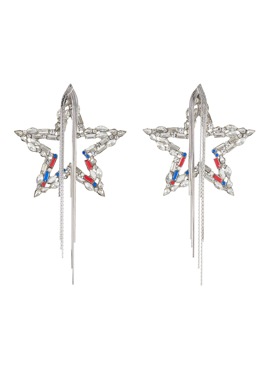 CRYSTAL STAR CHAIN TASSEL DROP EARRINGS