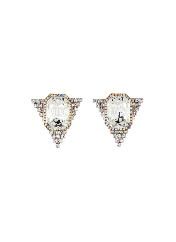 LOGO CENTREPIECE TRIANGULAR CRYSTAL STUD EARRINGS