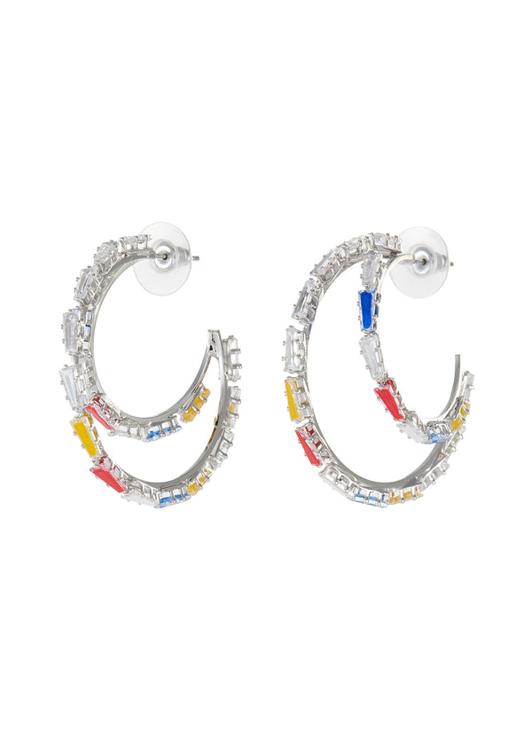 BAGUETTE CRYSTAL DOUBLE HOOP EARRINGS