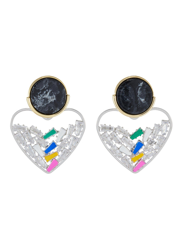 CRYSTAL EMBELLISHED DETACHABLE HEART CHARM MARBLE EFFECT STUD