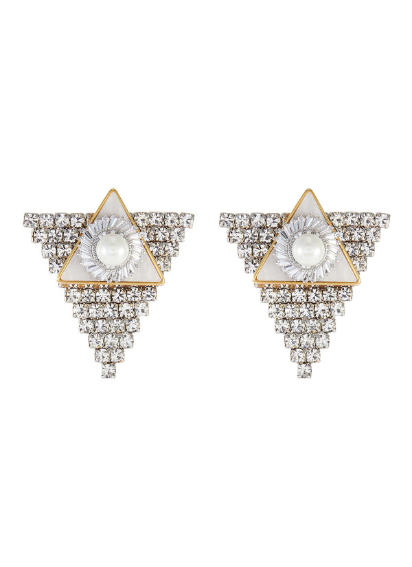 CRYSTAL PEARL TRIANGULAR STUD EARRINGS