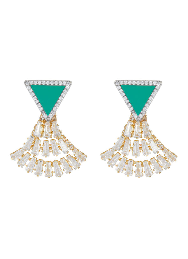 CRYSTAL EMBELLISHED FAN TRIANGLE EARRINGS
