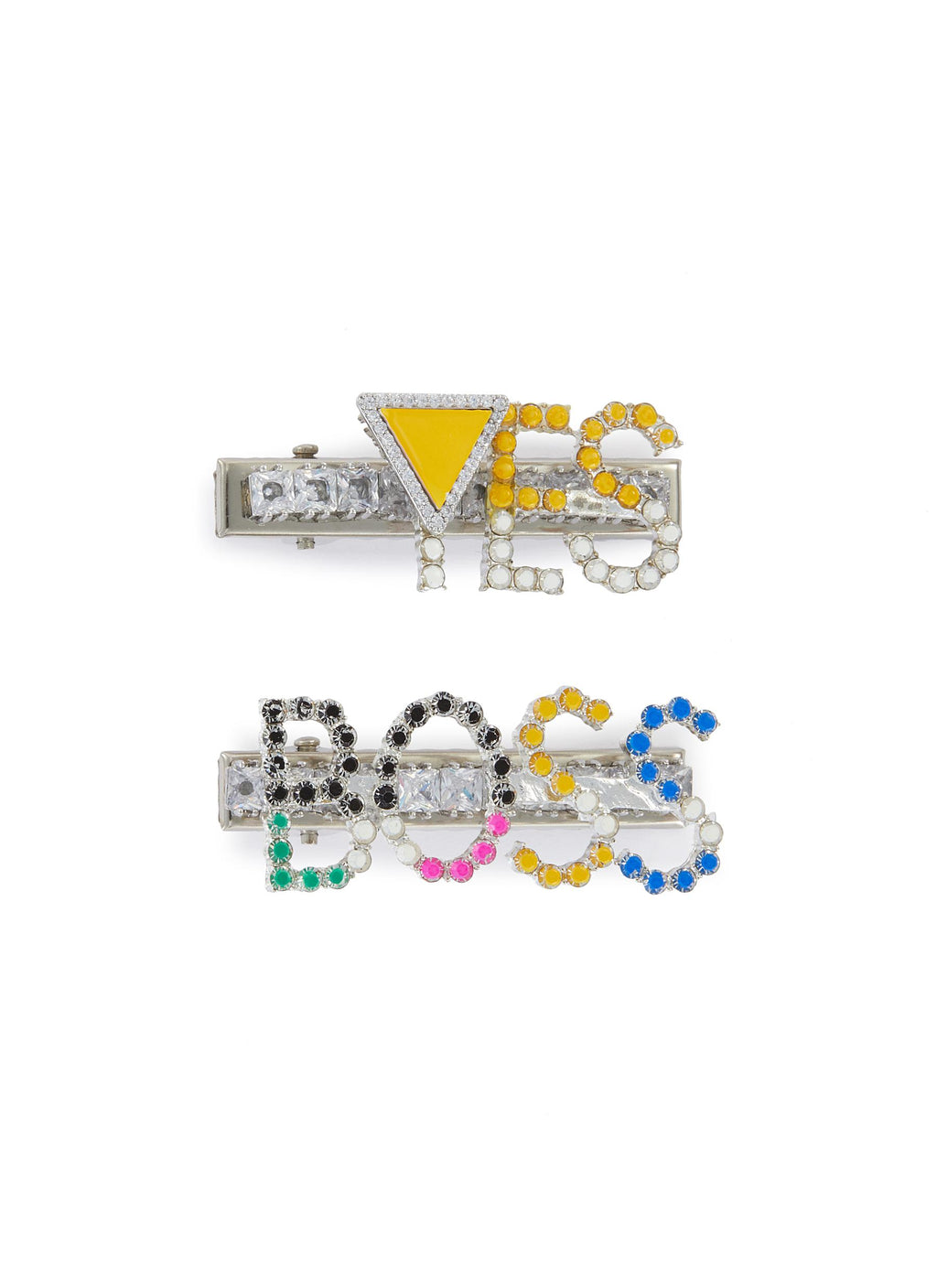 'Yes Boss' Crystal Embellished Hair Clips