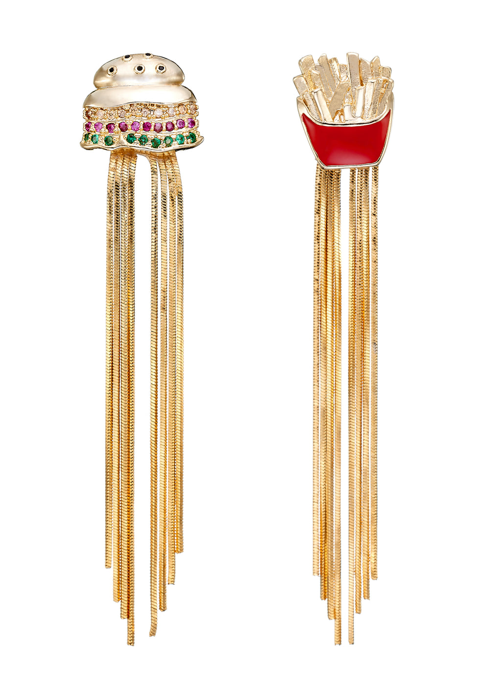 GLASS CRYSTAL HAMBURGER FRIES FRINGE DROP MISMATCHED EARRINGS