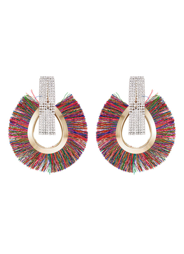 DETACHABLE MULTI COLOUR FRINGE OVAL DROP GLASS CRYSTAL EARRINGS