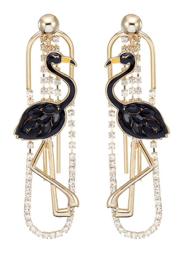 DETACHABLE GLASS CRYSTAL FLAMINGO DROP EARRINGS