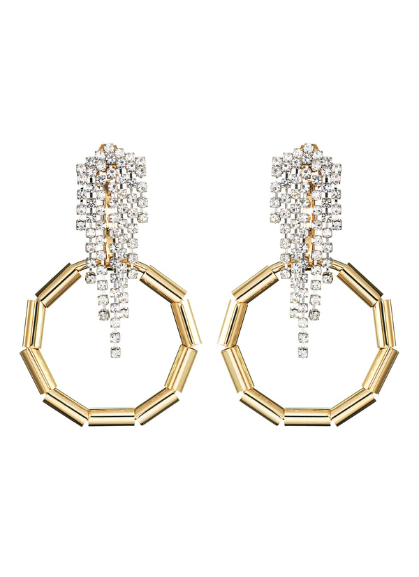 DETACHABLE BEADED HOOP GLASS CRYSTAL DROP EARRINGS
