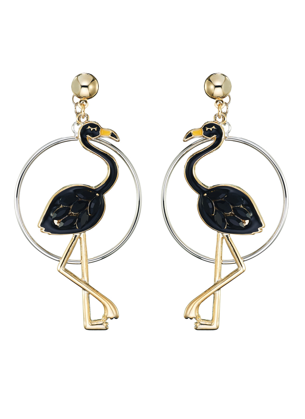 Detachable hoop flamingo drop earrings