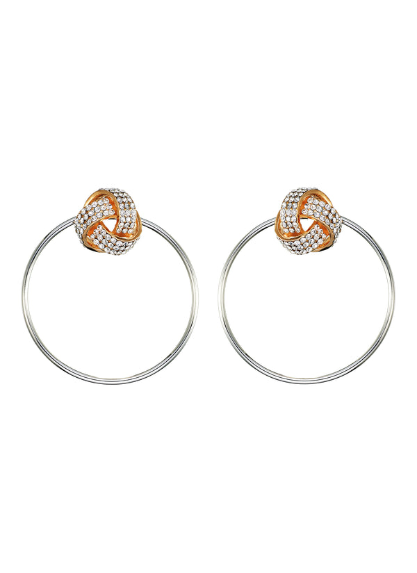 DETACHABLE SILVER HOOP WITH GLASS CYSTAL STUD EARRINGS