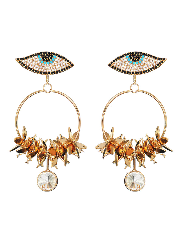 DETACHABLE HOOP EGYPTIAN EYE DROP EARRINGS