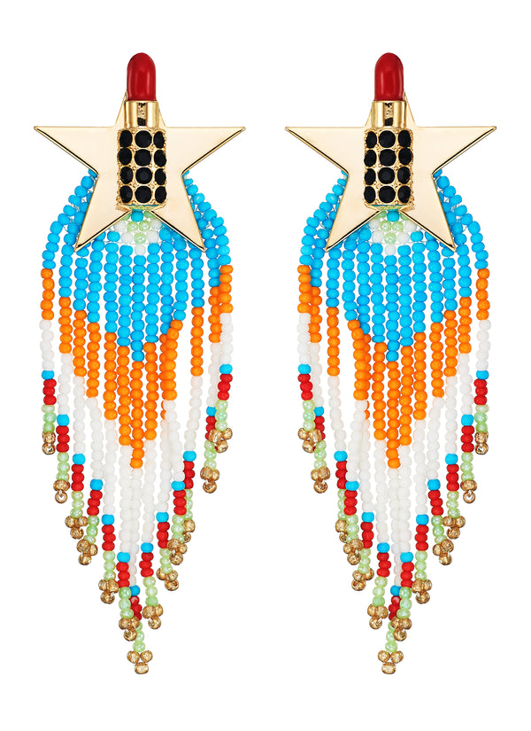 LIPSTICK STAR BEADED FRINGE DROP EARRINGS