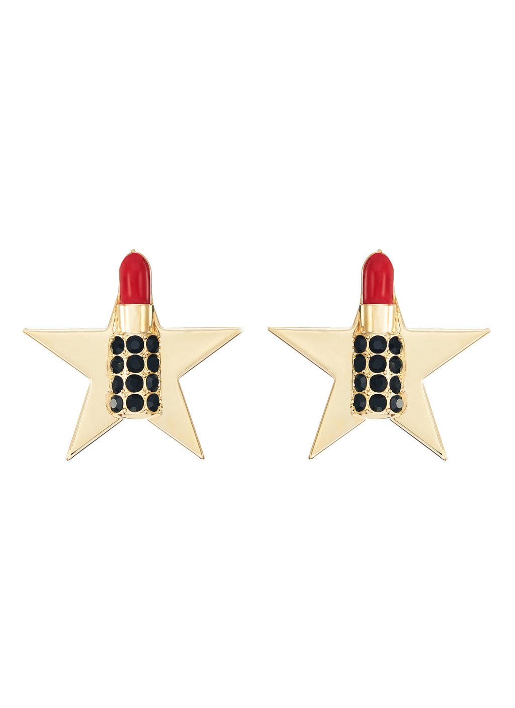 GLASS CRYSTAL LIPSTICK STAR EARRINGS