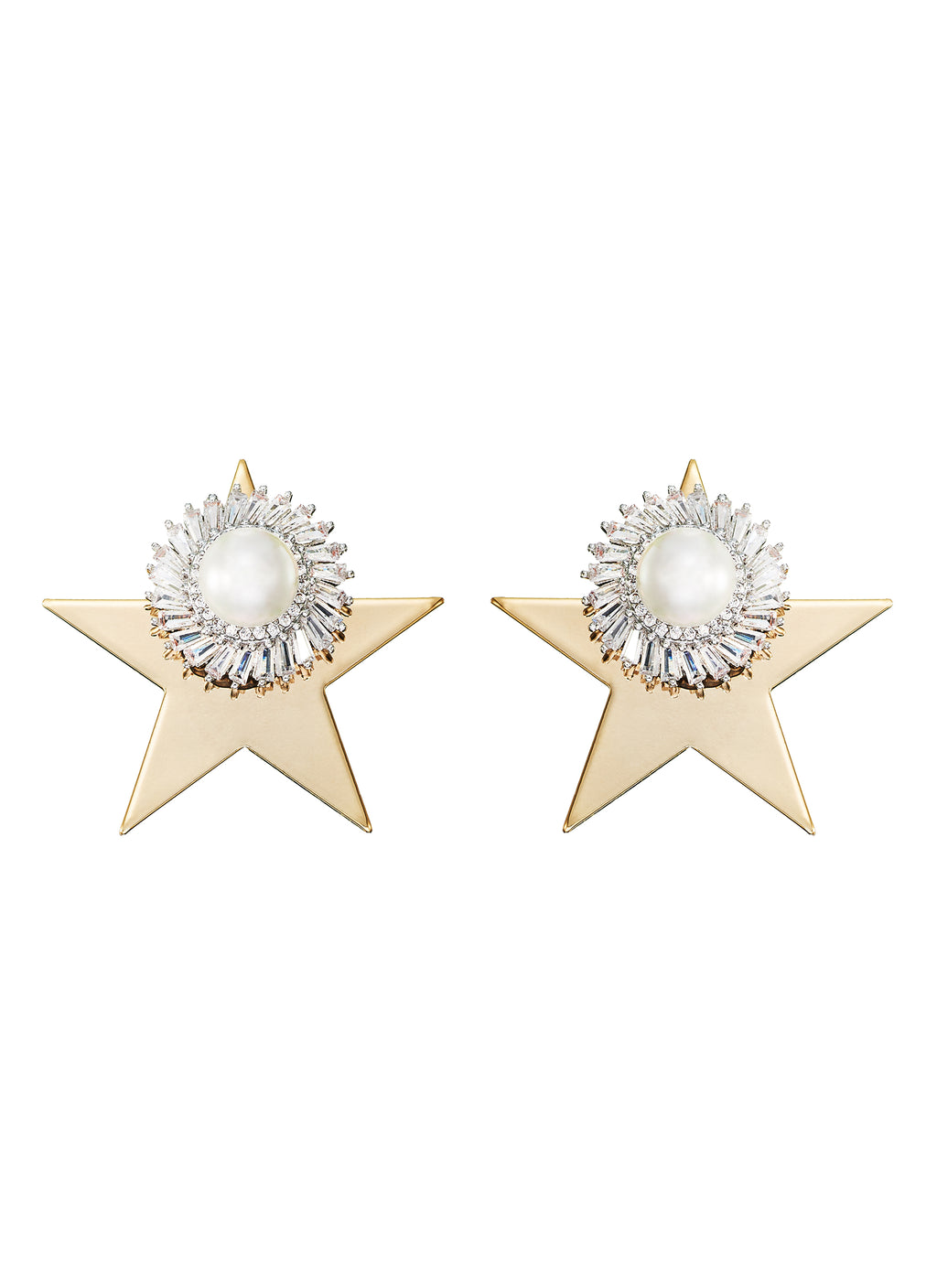 GLASS CRYSTAL PEARL STUD WITH STAR EARRINGS
