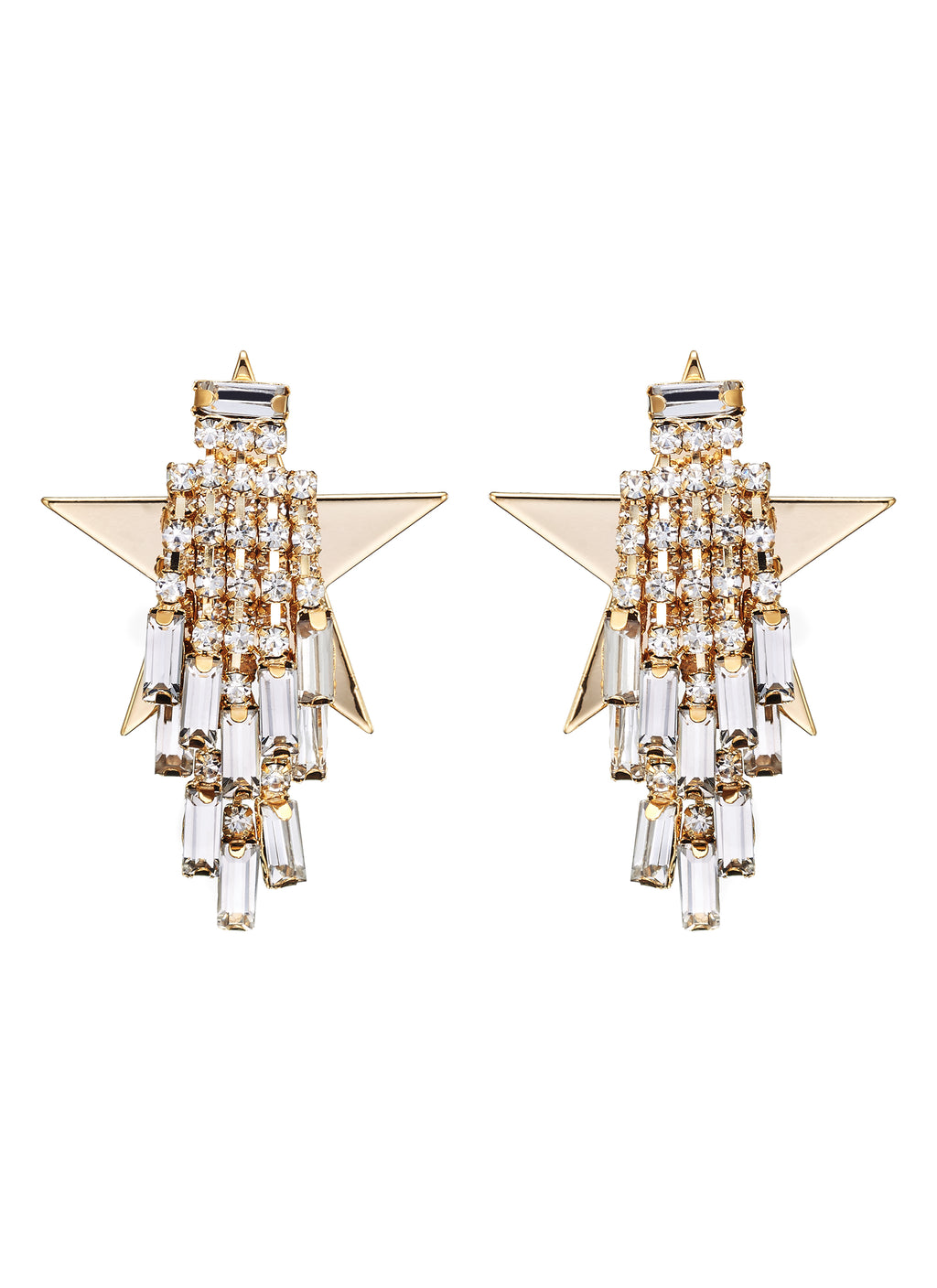 DETACHABLE GLASS CRYSTAL DROP STAR EARRINGS