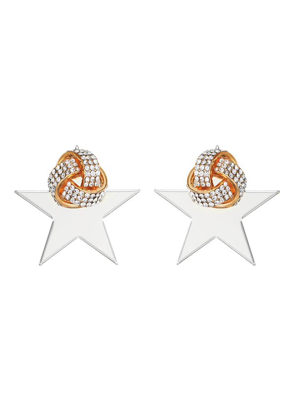GLASS CRYSTAL STUD WITH STAR EARRINGS