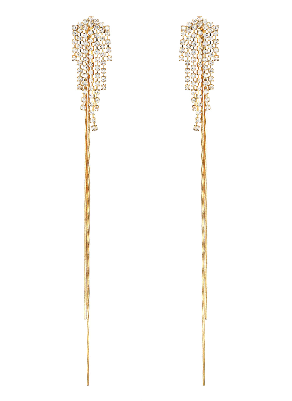 DETACHABLE GLASS CRYSTAL FRINGE DROP EARRINGS