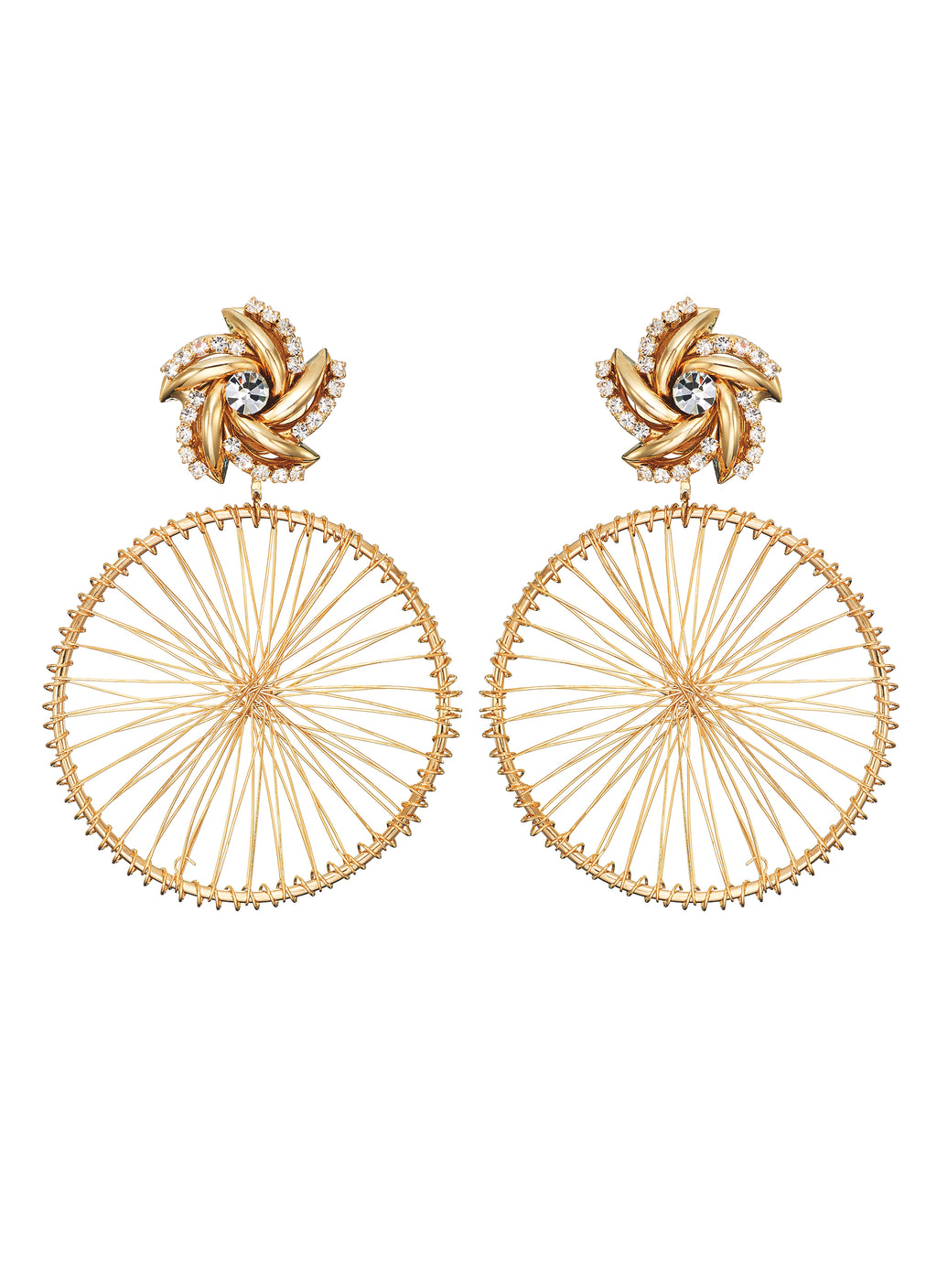 DETACHABLE WHEEL DROP GLASS CRYSTAL EARRINGS