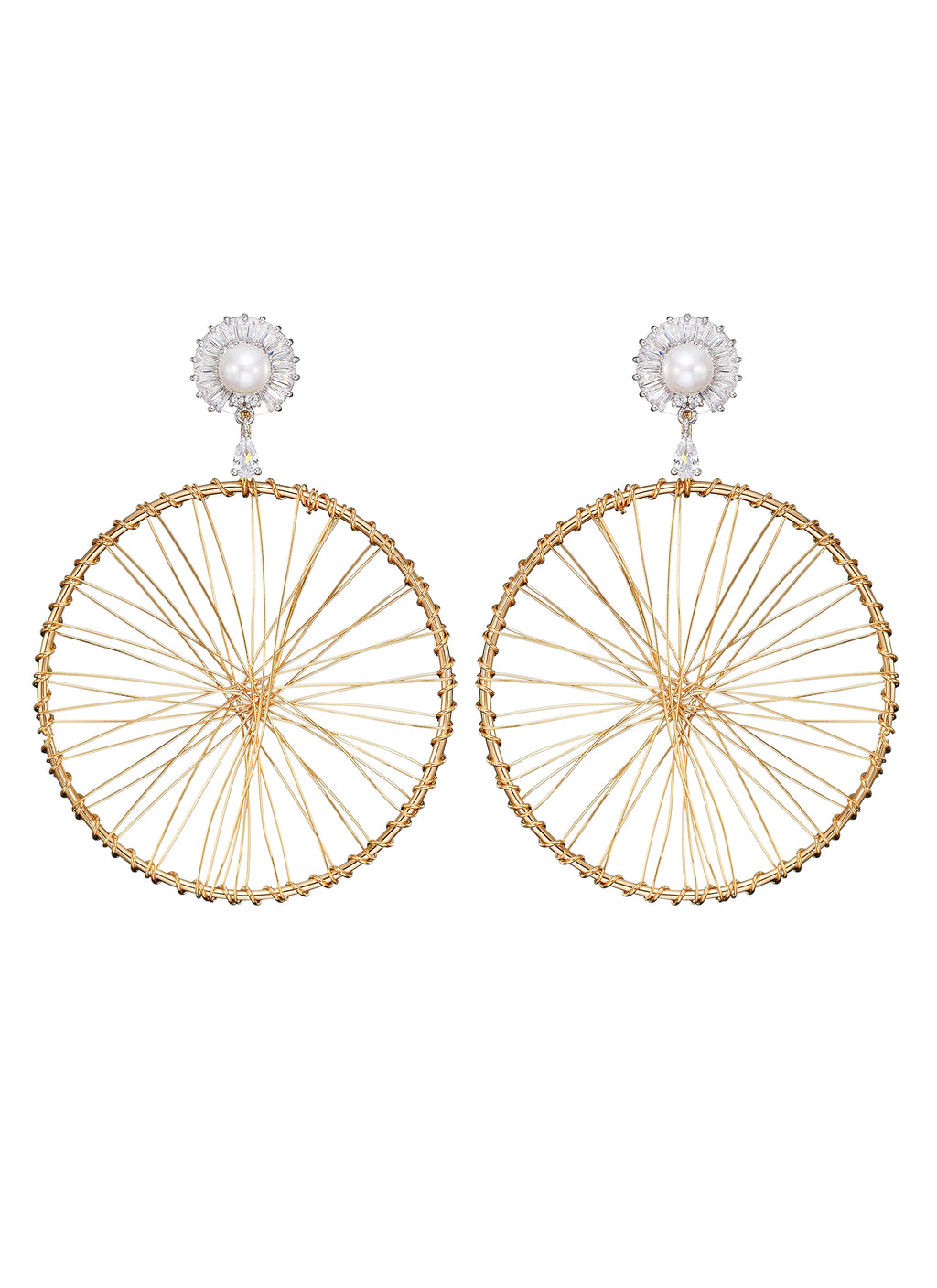 DETACHABLE WHEEL DROP GLASS CRYSTAL BLOSSOM WITH PEARL EARRINGS