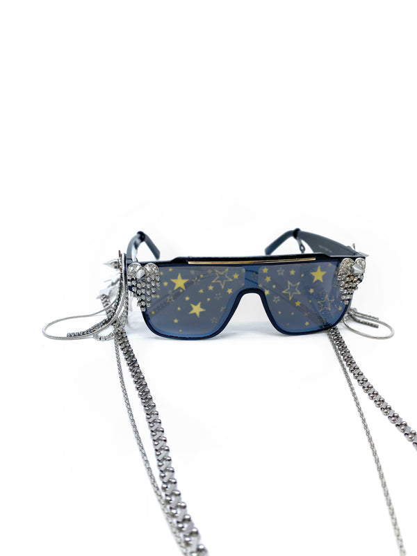 GLASS CRYSTAL-EMBELLISHED STAR PRINT SUNGLASSES