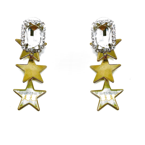 CRYSTAL STUD GOLD STAR DROP EARRING