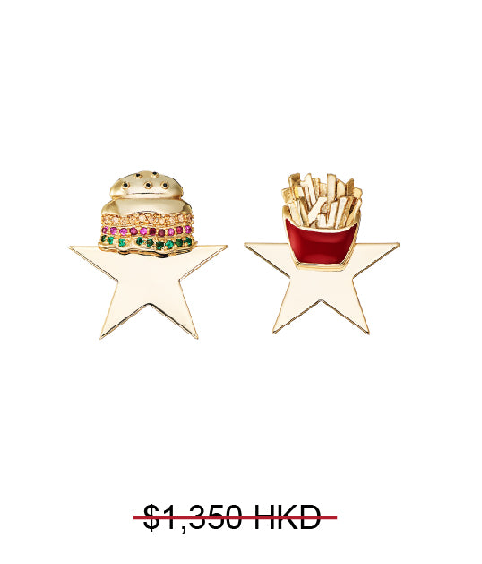 GLASS CRYSTAL HAMBURGER FRIES STAR MISMATCHED EARRINGS