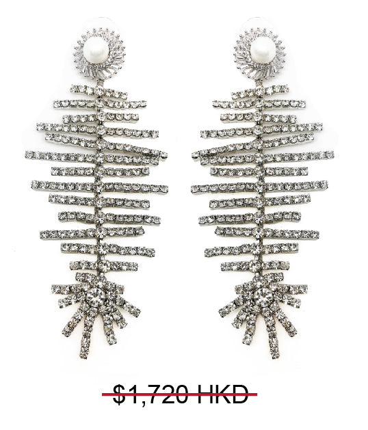 GLASS CRYSTAL FAUX PEARL STUD  FRINGE DROP EARRINGS
