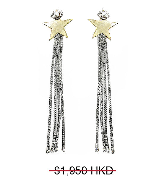 GLASS CRYSTAL STARRY PEARL EYE FRINGE DROP EARRINGS