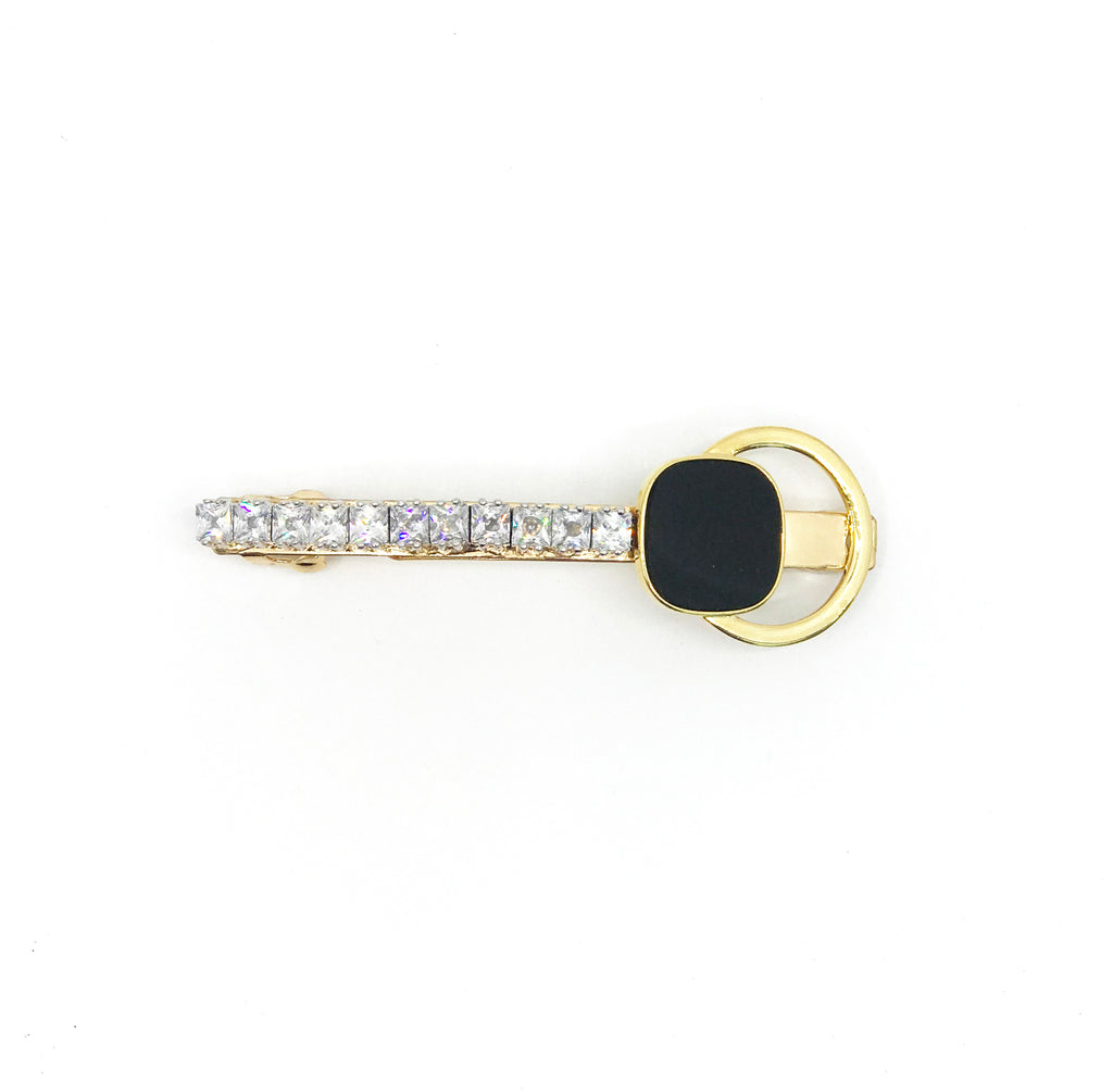 GLASS CRYSTAL ROUND CHARMS WITH BLACK STUD HAIR CLIP