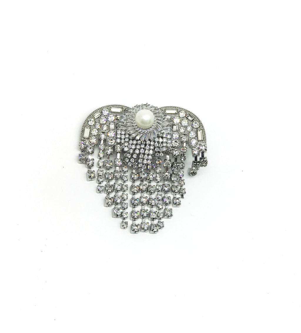 SILVERTONED GLASS CRYSTAL FRINGE HEART HAIR CLIP