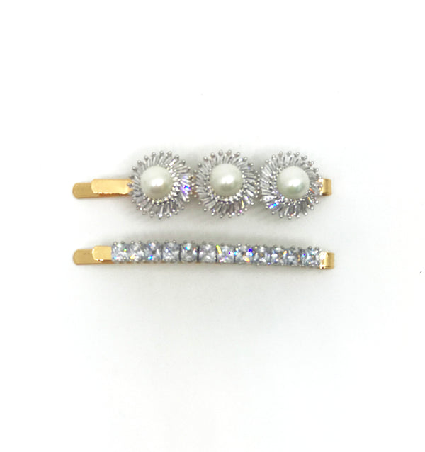 GLASS CRYSTAL FAUX PEARL HAIR CLIP SET