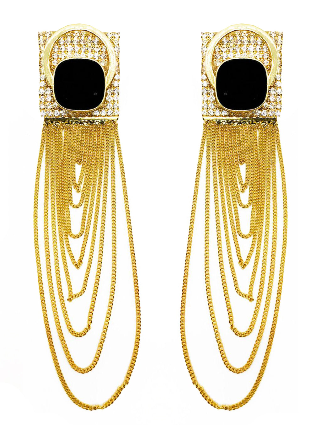 GOLD FRINGE CHAINS WITH GLASSCRYSTAL EARRINGS