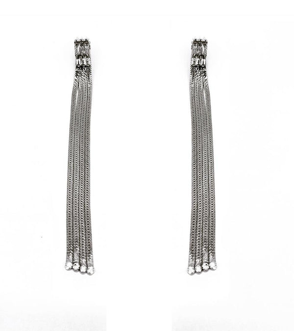 DETACHABLE CRYSTAL STUD FRINGE DROP EARRINGS