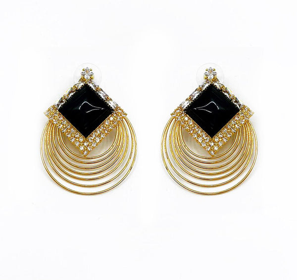 SQUARE STUD LAYERED HOOP EARRINGS