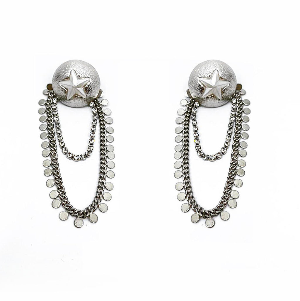 STAR SHEILD CHAIN DROP EARRINGS